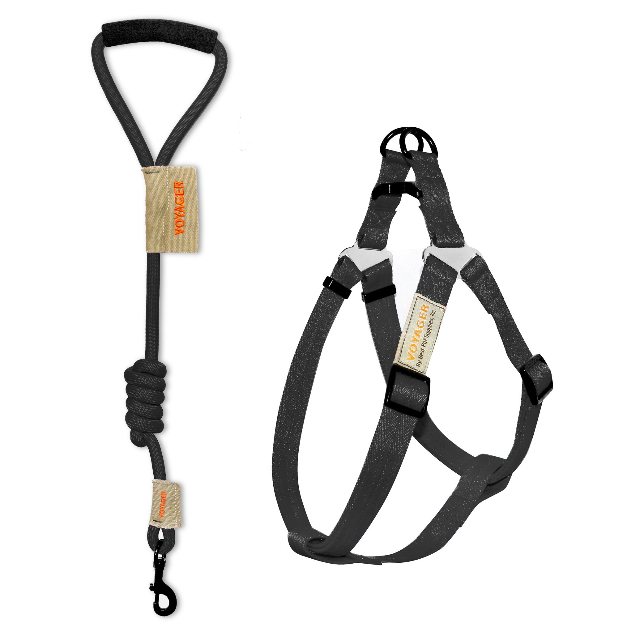 Voyager Step-in No Pull Adjustable Dog Walking Harness with 3 feet Foam Handle Nylon Webbing Mountain Rope Leash and Carry Pounch by Best Pet Supplies - Black, Medium