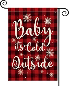 AVOIN Watercolor Buffalo Check Plaid Baby It's Cold Outside Garden Flag Vertical Double Sized, Christmas Winter Holiday Party Yard Outdoor Decoration 12.5 x 18 Inch