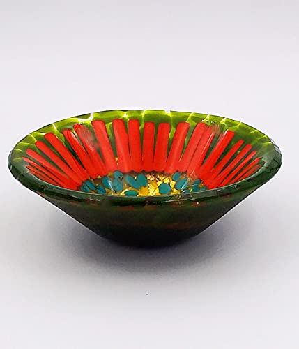 Handcrafted Southwestern Style Fused Glass Decorative Bowl In Green Orange And Gold Handmade