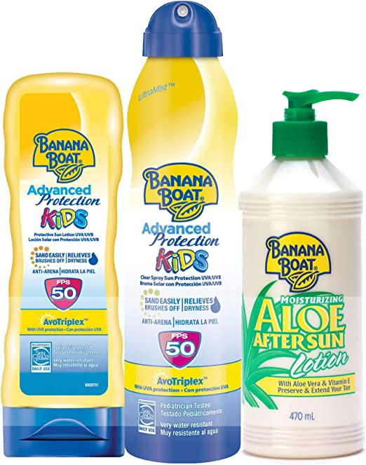 Banana Boat - Pack para niños - Spray Bruma de Crema Solar Para Niños SPF 50, 220 ml + Crema De Sol Para Niños SPF 50, 180 ml + Loción After Sun 470ml: Amazon.es: Belleza