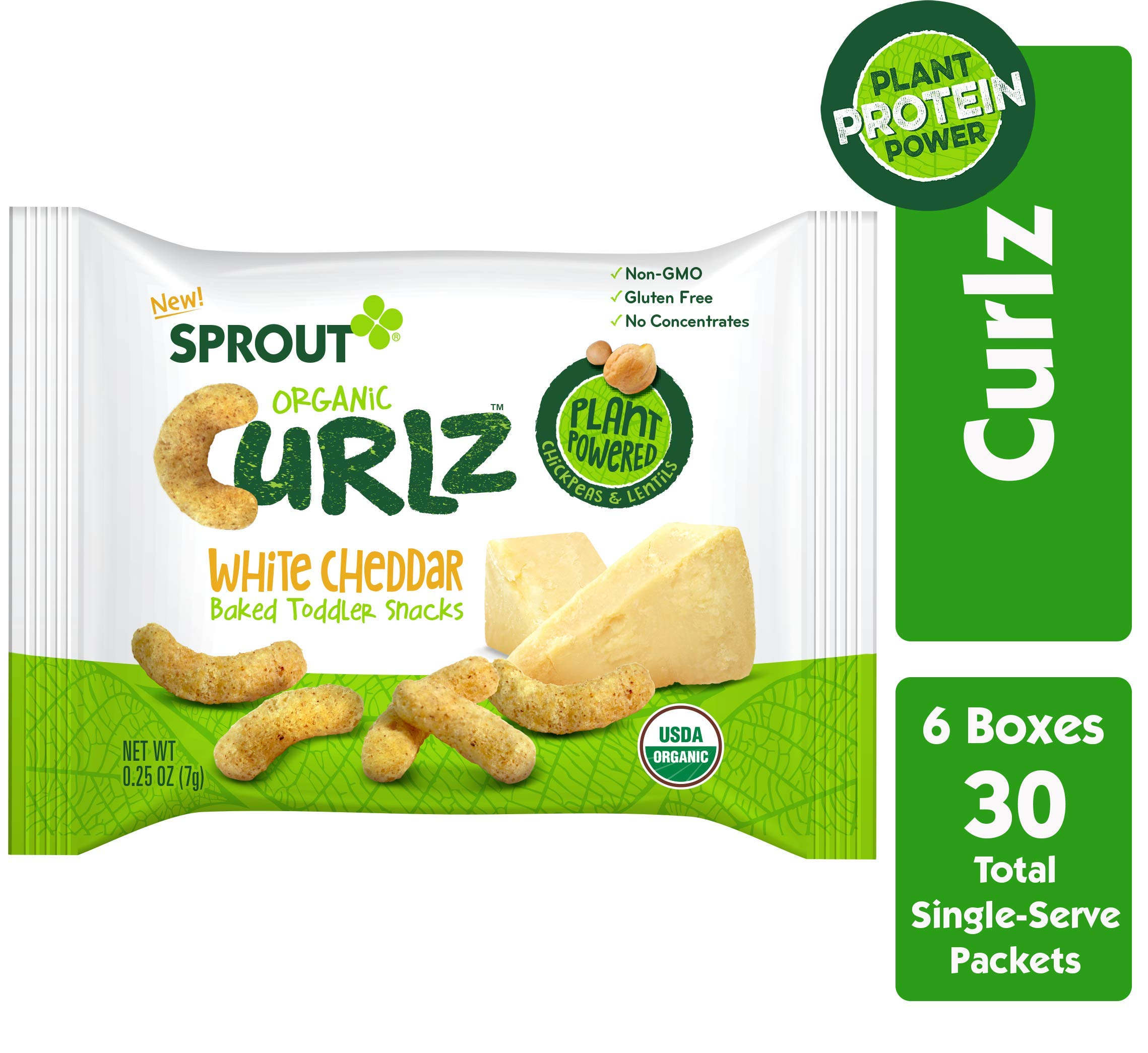 Sprout Organic Curlz Toddler Snacks, White Cheddar, 0.25 Ounce (30 Count) by Sprout