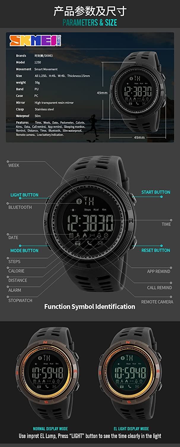 Amazon.com  SKMEI 1250 Smart Watch Pedometer Calories Clocks Waterproof  Digital Wristwatches Outdoor Sports Watches (black)  Watches 66ab773385