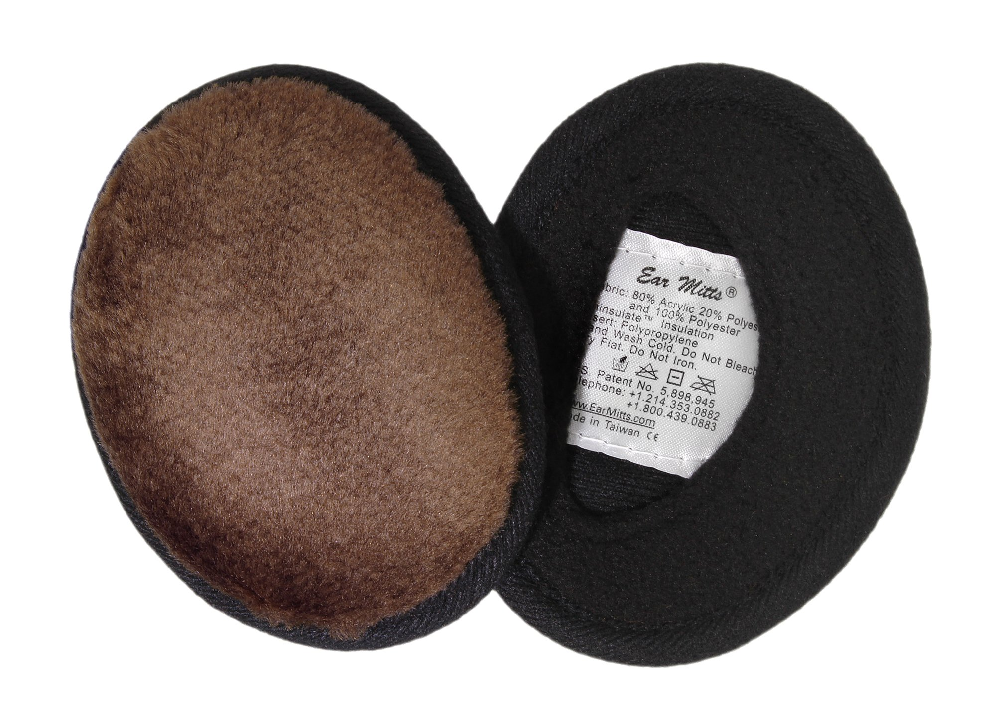 Ear Mitts Bandless Ear Muffs, Brown Mink Faux Fur Ear Warmers, Regular by Ear Mitts