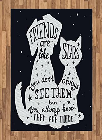 Amazon Com Ambesonne Dog Area Rug Friends Are Like Stars Quote