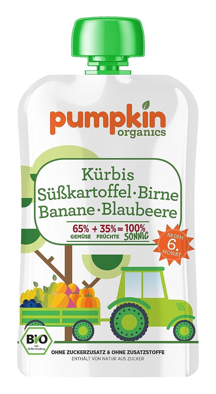 Pumpkin Organics 100g Bio Baby-Brei im Quetschbeutel aus Kürbis - Süßkartoffel mit Birne - Banane und Blaubeere Babynahrung