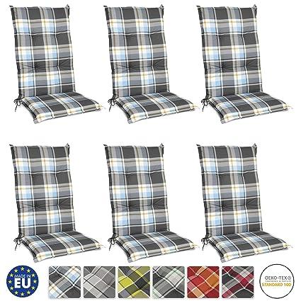 Beautissu Set de 6 Cojines para sillas de Exterior y jardín ...
