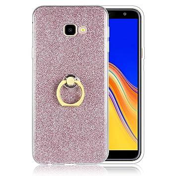 Funluna Funda Samsung Galaxy J4 Plus Dedo, Carcasa de Glitter Bling Silicona con 360 Grados Rotating Soporte Anti-Gota Anillo Bumper Case para Samsung ...