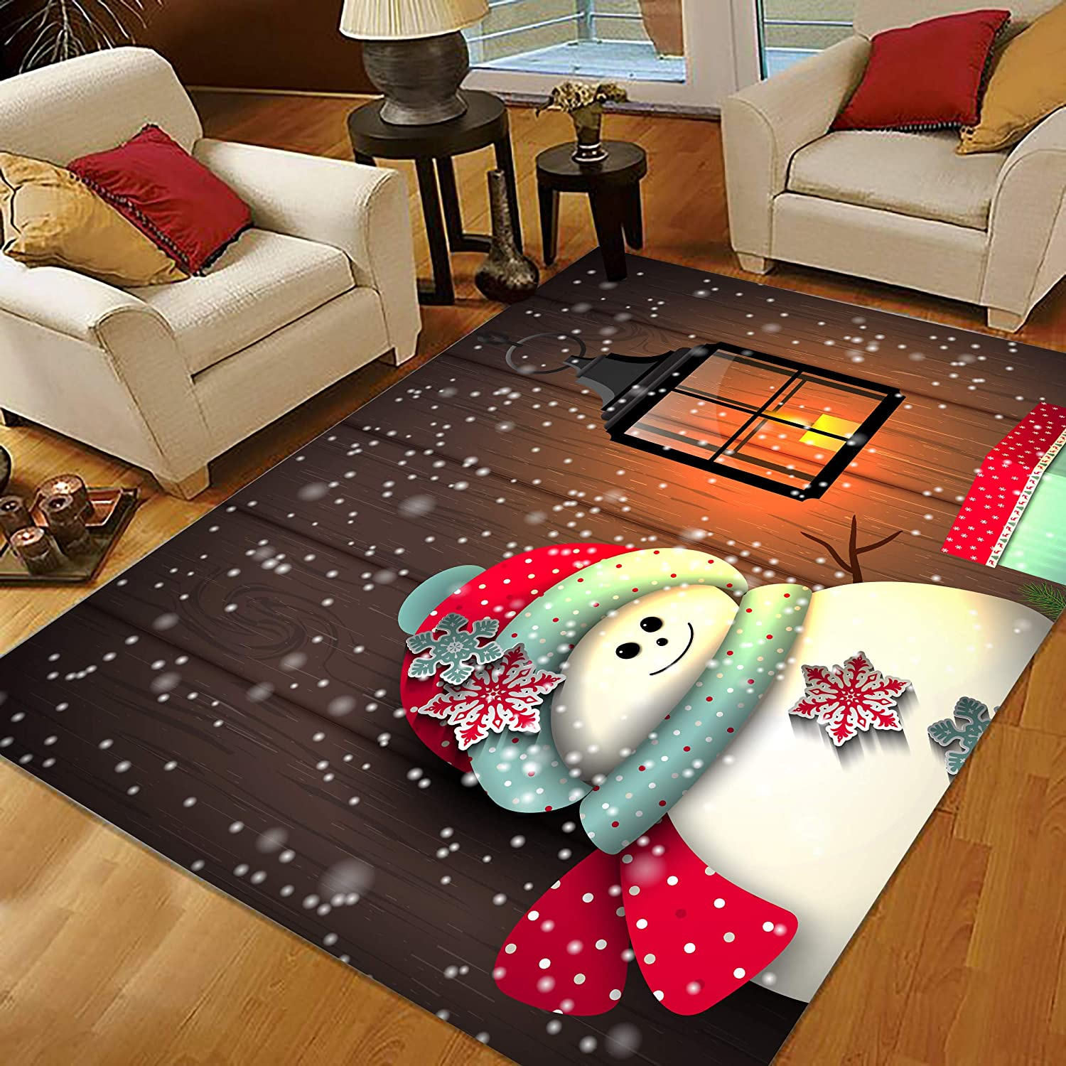 Amazon Com Christmas Rugs 3x5 Snowman Area Rugs Small Rugs For Living Room Bedroom For Holiday Decoration 334475126 Snowman With Vintage Lantern Kitchen Dining