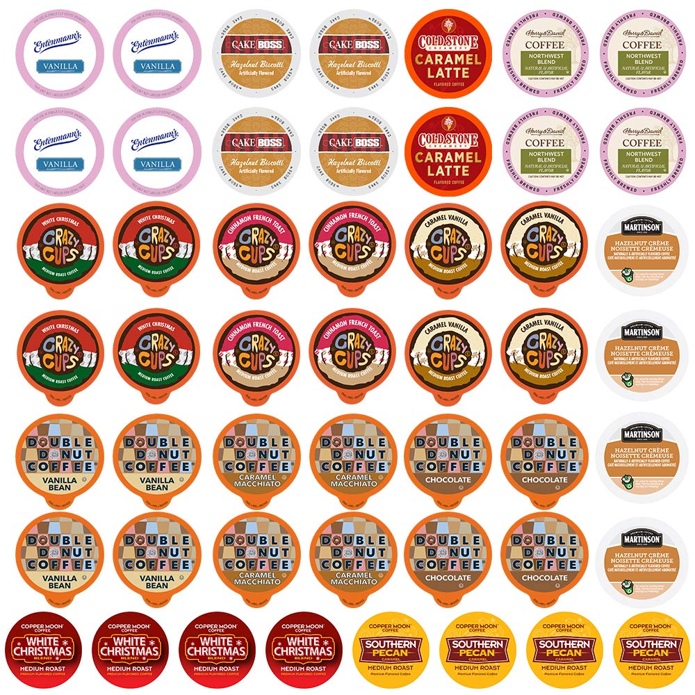 Perfect Samplers Flavored Coffee Variety Sampler Pack, Assorted Flavors in Single Serve Pods for Keurig K-Cup Machines, 50 Count