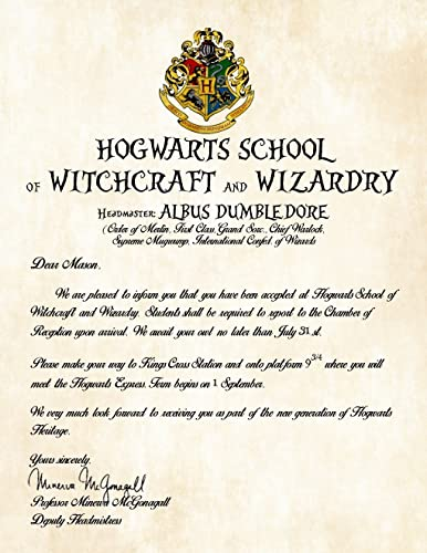 Amazon personalized harry potter acceptance letter hogwarts personalized harry potter acceptance letter hogwarts school of witchcraft and wizardry spiritdancerdesigns Gallery