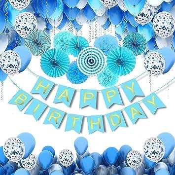 MMTX Suministros de Decoraciones para Fiestas de Cumpleaños, Paquete de 56 Favores de con Pancartas de Feliz Cumpleaños, Abanicos de Papel, Helio ...