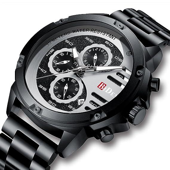 Relojes para Hombre Reloj Deportivo Impermeable de Acero Inoxidable Reloj Hombres Cronógrafo Multifuncional Militar Fecha Relojes de Pulsera Diseñador Unico ...