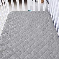 "Crib Mattress Pad Cover for 52"" × 28"" Standard Crib Mattress, Ultra Soft Bamboo Fleece Surface and Premium Waterproof…"