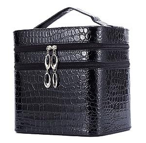 HOYOFO Double Layer Cosmetic Case Storage PU Organizer Travel Multi Layer Desktop Makeup Case Box with Mirror, Black