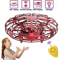 Mini Drones per Bambini e Adulti, Flying Ball Toy Controllato a Mano con Luce a LED e Rotazione di 360°, Regali per Ragazzi e Ragazze (Rosso)