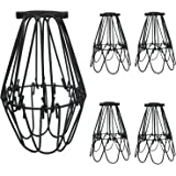 SooFoo 4 pack Black Metal Lamp Guard, Adjustable Cage Openings to Different Styles,Industrial Vintage Style Cage Lihgt for Pendant String Lights and Vintage Lamp Holders (4 pack)