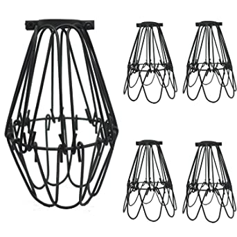 SooFoo 4 Pack Black Metal Lamp Guard, Adjustable Cage Openings To Different  Styles,Industrial