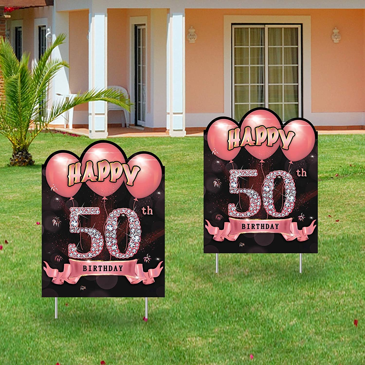 Excelloon 2Pcs 50th Birthday Yard Sign Decorations for Women, Rose Gold 50 Year Old Birthday Party Lawn Signs Supplies, Happy Fifty Birthday Yard Decor for Outdoor