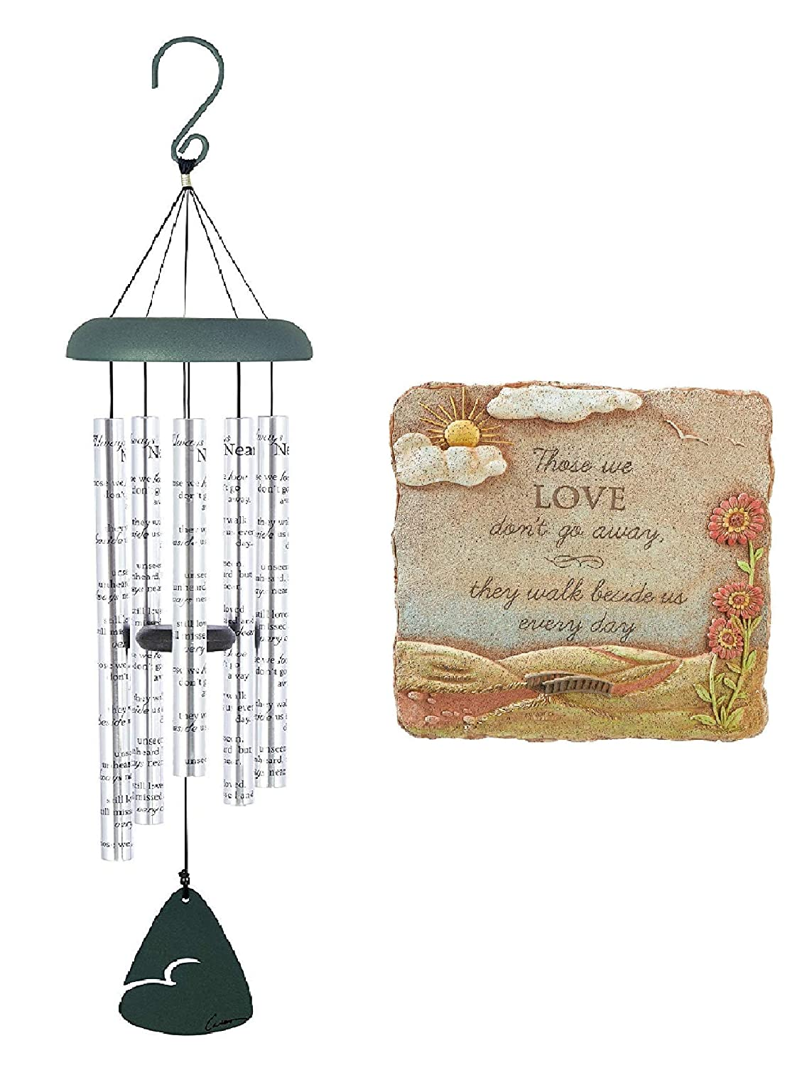 from Grassland Roads Naturesroom Sympathy Bereavement Gift Set Carson Home Accents 62913 Always Near Sonnet Memorial Wind Chime with Popular Garden Stone Plaque Those We Love Dont
