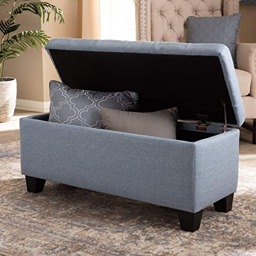 Baxton Studio Fera Modern and Contemporary Light Blue Fabric Upholstered Storage Ottoman