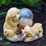 Solalite® al aire libre jardín adorno de perros con bola de cristal funciona con energía solar luz