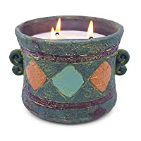 15.0oz Large Citronella Candles Outdoor and Indoor Natural 3 Wicks Soy Wax Candles Set in Coarse Pottery Container