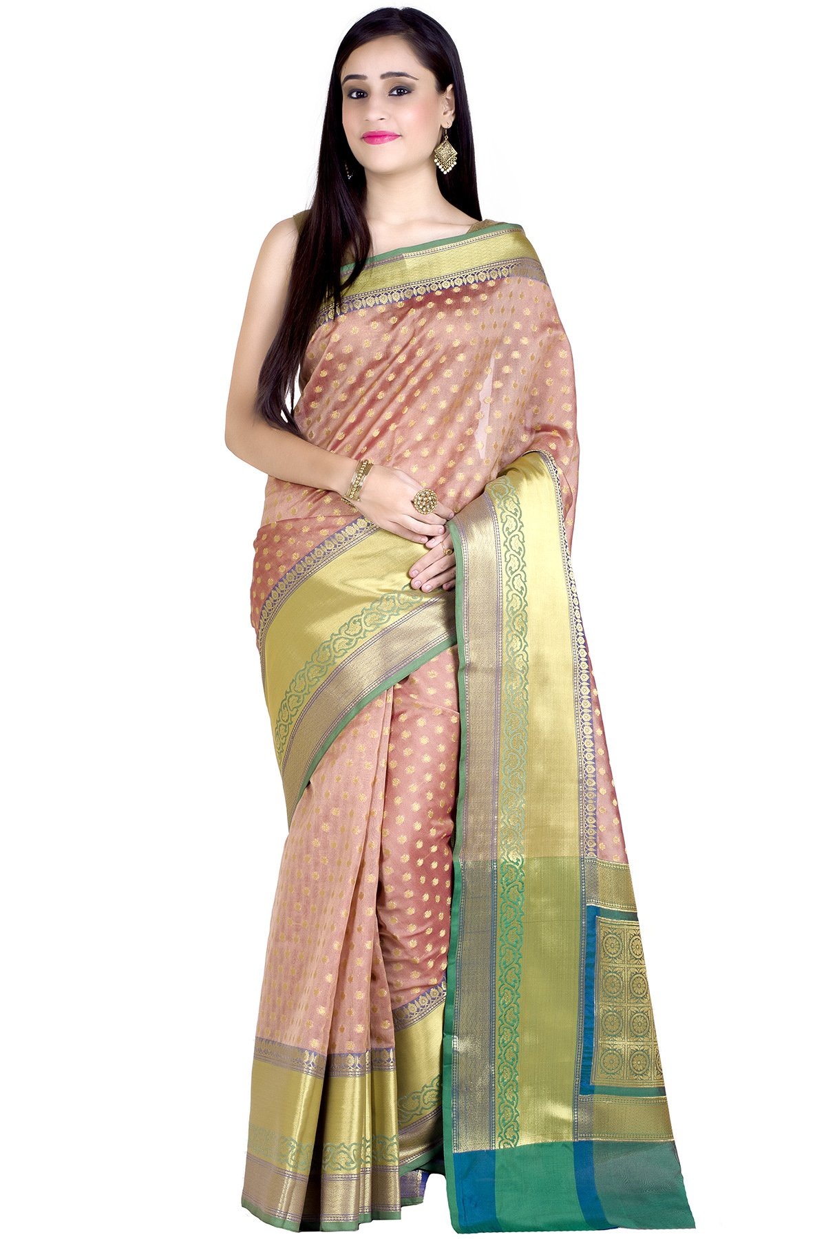 Chandrakala Women's Copper Kanjivaram Silk Traditional Saree(1241COP)