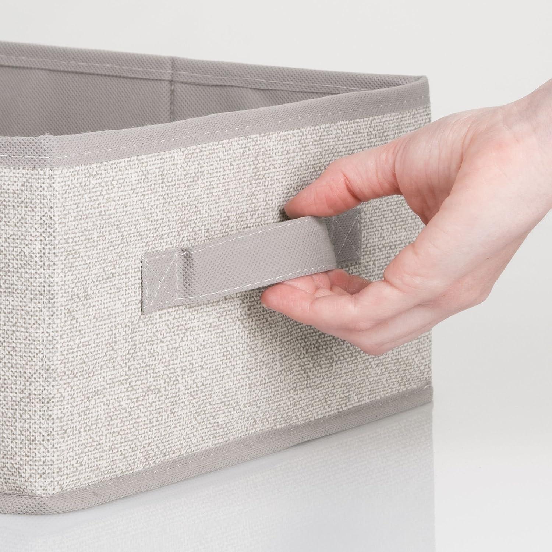 mDesign Juego de 2 cajas organizadoras para ordenar armarios - Organizadores para armarios en polipropileno con estética de cuerdas - Cajas de tela para ...