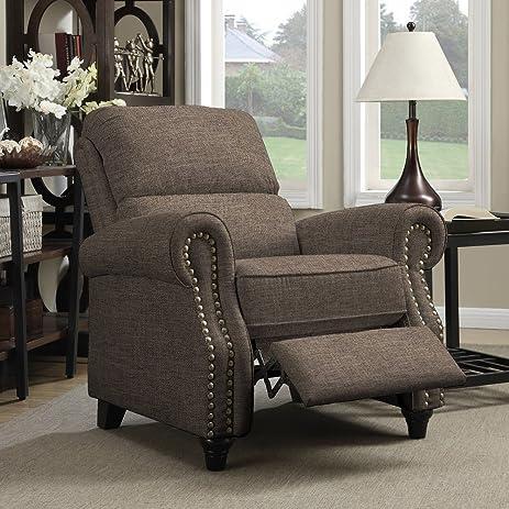 Home Brown Linen Push Back Recliner Chair