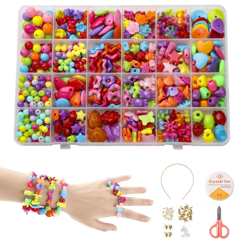 Phogary 24 Arten Bunte Perlen Set (500+ Stücke) Handwerk Perlen für Kinder DIY Armband, Halsketten Schmuck Machen Set für Mädchen, Geschenk für 6, 7, 8, 9 Jahre Mädchen Spielzeug Geschenk für 6