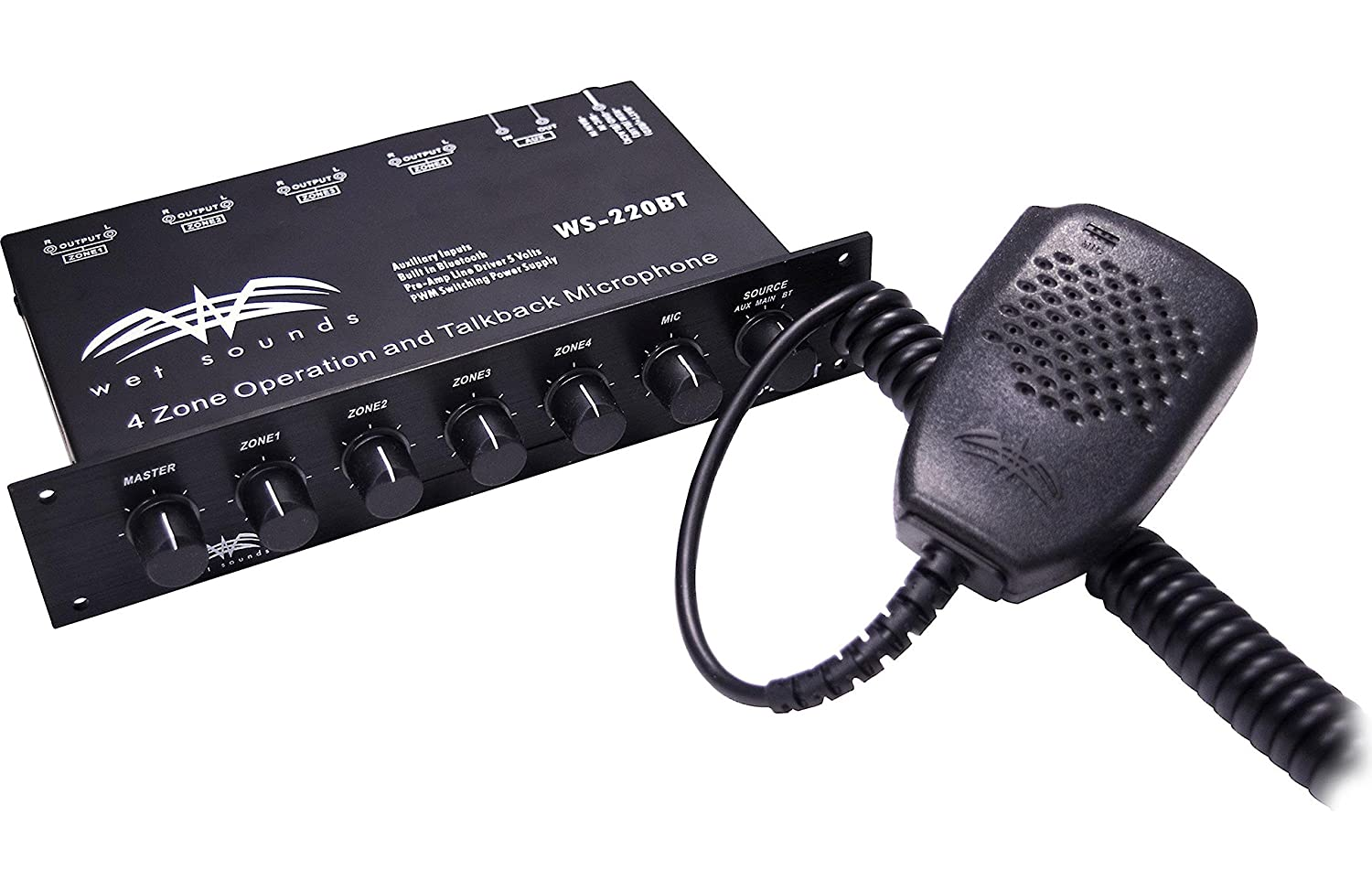 Wet Sounds WS-220 BT 4-Zone Marine Level Controller with aux Input and Bluetooth