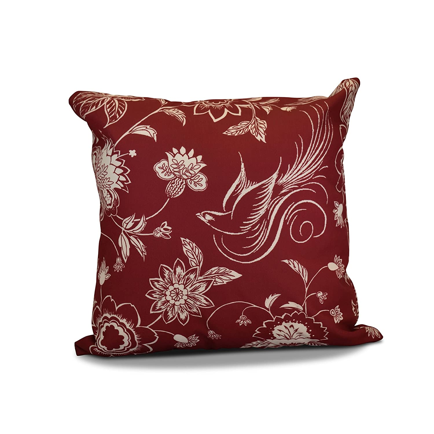 Floral Print E by design PHFN672RE6IV2-20 Decorative Holiday Pillow Cranberry