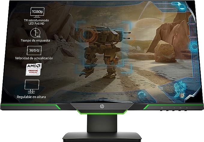 HP 25x - Monitor Gaming de 24.5'' Full HD (1920x1080, TN, 16:9 HDMI 2.0, DisplayPort 1.2, 1ms, 144 Hz, AMD FreeSync, Low Blue Light, Ajustable en Altura), negro