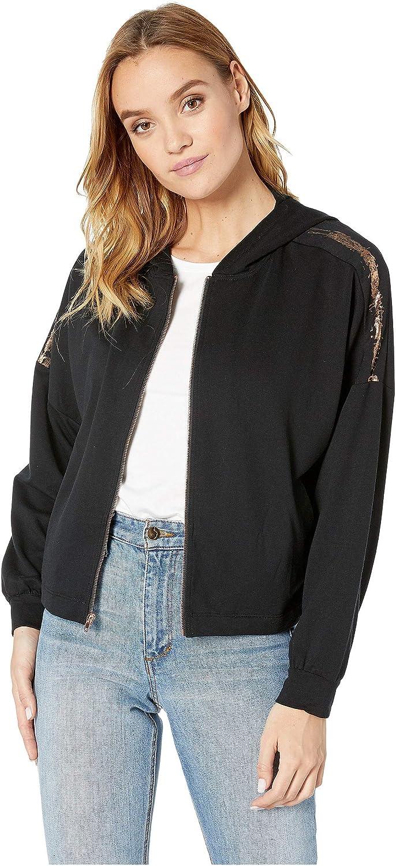 Splendid Womens Studio Rose Gold Stripe Batwing Zip-Up Jacket
