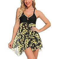 FINWANLO Womens Two Piece Swimsuits Tankini Top Set Mesh Swimdress Printed Swimwear with Boyshort Bathing Suits