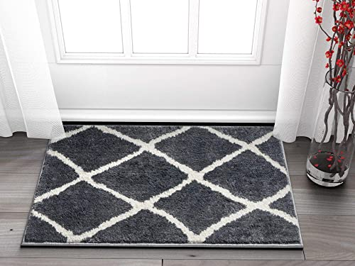 Clara Grey White Modern Beni Ourain Microfiber 2×3 20 x 31 Area Rug Doormat Accent SmallVintage Moroccan Trellis Tribal Carpet