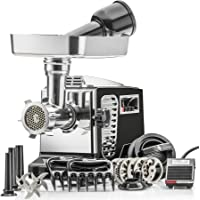 "STX Turboforce II""Platinum"" w/Foot Pedal Heavy Duty Electric Meat Grinder & Sausage Stuffer: 6 Grinding Plates, 3 S/S…"