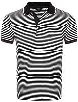(クーファンディ)Coofandy ポロシャツ メンズ 半袖 ボーダー ゴルフウェア スポーツ 通気 速乾 快適 カジュアル 仕事 フィット スリム 胸ポケット付き 肌触りよい 黒 ブルー S~XXL