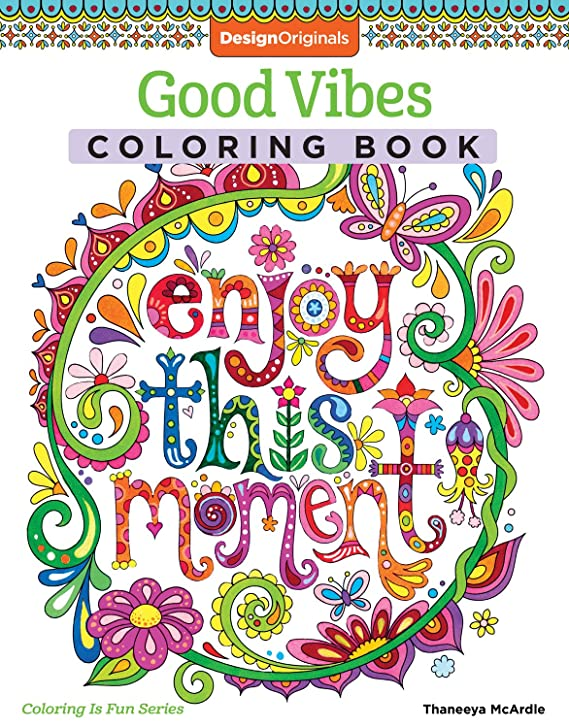 Design Originals Good Vibes Coloring Book Activity Is Fun Multicoloured Thaneeya McArdle Amazoncouk Kitchen Home