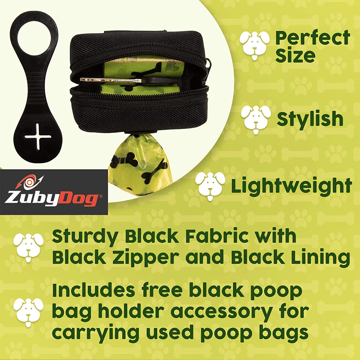 ZubyDog Poop Bag Dispenser (2 Pack, All Black with Black Poop Bag Holder):  Amazon.in: Pet Supplies