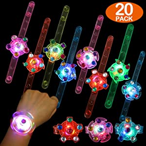 Party Favors for Kids 20 Pack Light Up Bracelet Glow in The Dark Party Supplies, Classroom Prizes Box Led Toys Bulk Girls Boys School Gifts, Birthday Halloween Christmas Party Favor LED Fidget Toys