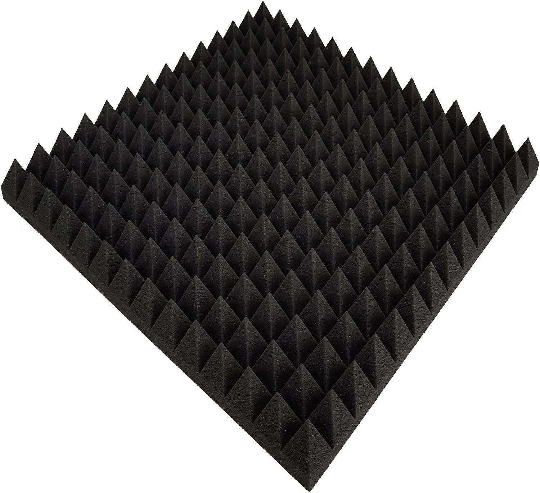 Pyramidenschaumstoff flammhemmend nach MVSS302 Noppenschaumstoff 0,25 m/² FSE Schaumstoff Anthrazit Schwarz ca Akustikschaumstoff 1 Platte 50x50x7cm