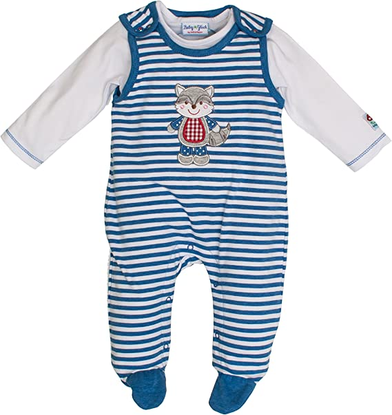 SALT AND PEPPER Baby-Jungen Nb Playsuit Bear Stripe Strampler