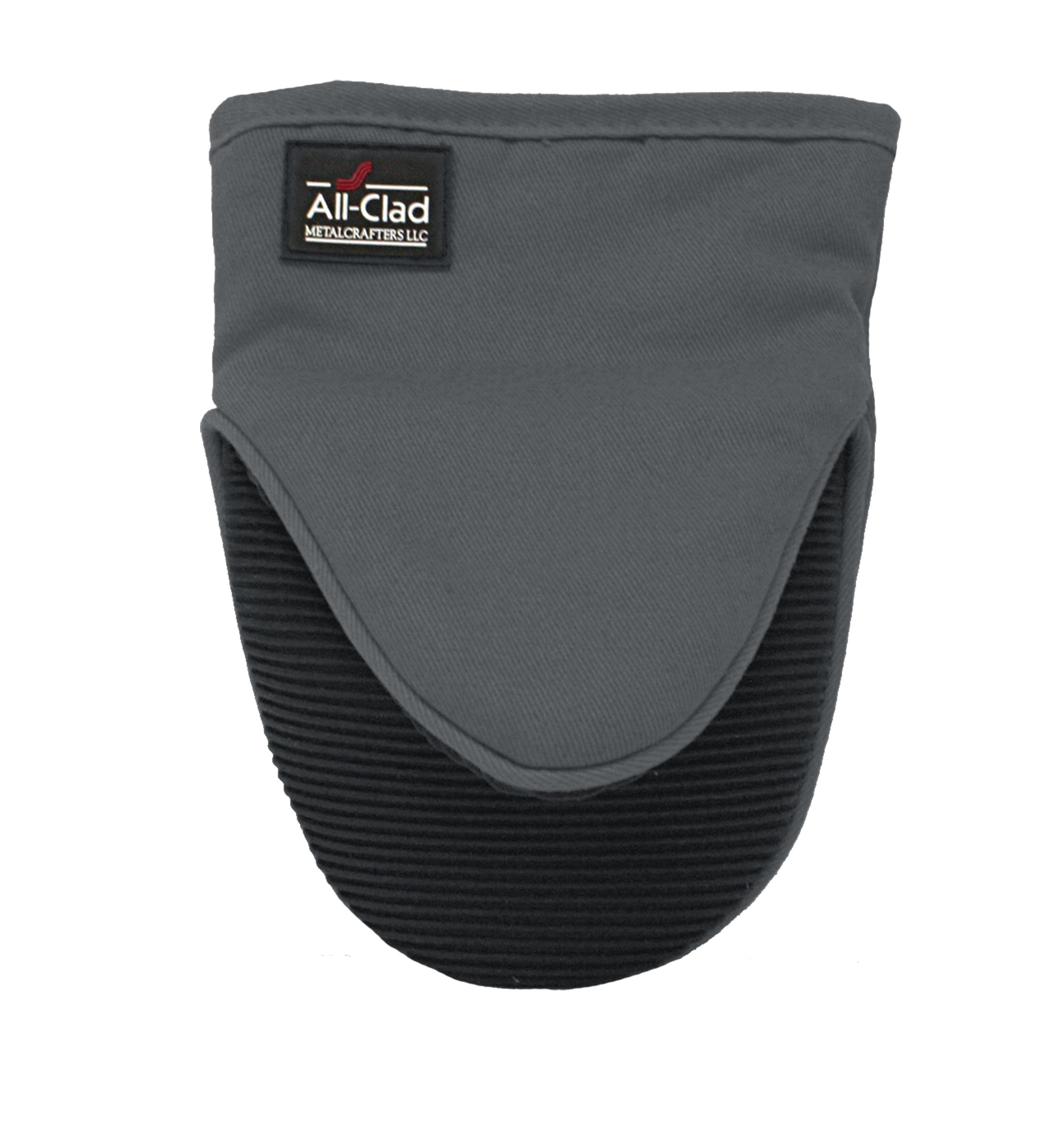 All-Clad Textiles Professional 600-Degree Cotton Twill Silicone Grabber Oven Mitt with No-Slip Grip, Pewter by All Clad Textiles