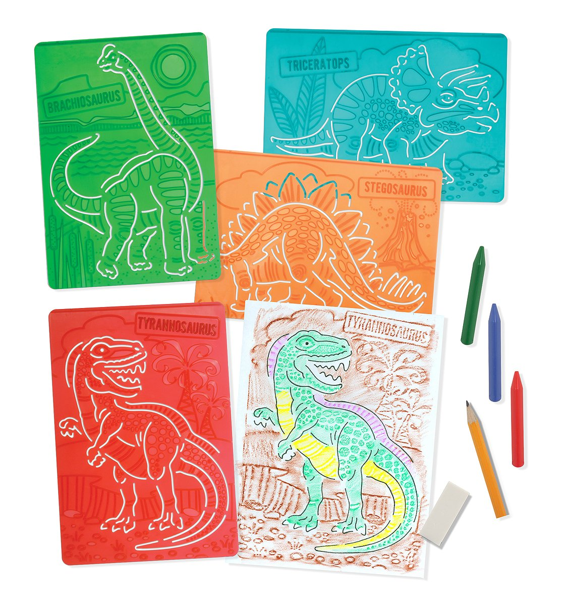 Melissa & Doug Textured Stencils - Dinosaurs, 4-Pack of Stencil-and-Rubbing Plates
