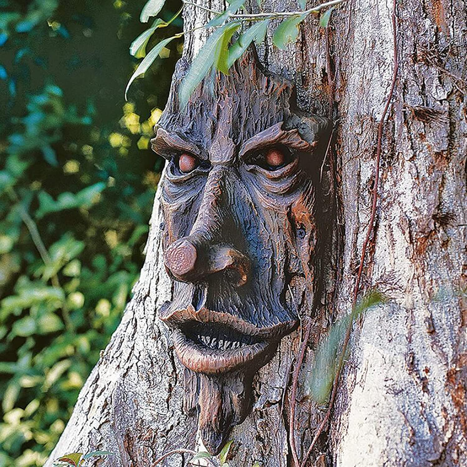Tree Faces Decor Outdoor -Old Man Tree face,Old Man Tree Hugger,Bark Ghost Face Facial Features Decoration Art Bark Ghost Face Facial Features Decor (Black)