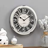 FirsTime & Co. Antique Farmhouse Contour Wall Clock, American Crafted, Distressed Ivory, 10 x 2 x 10,