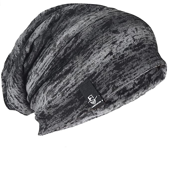 5c17d87a4b9 FORBUSITE Mens Slouchy Oversized Beanie Thin Skull Cap for Summer B081  Black with Dark Grey