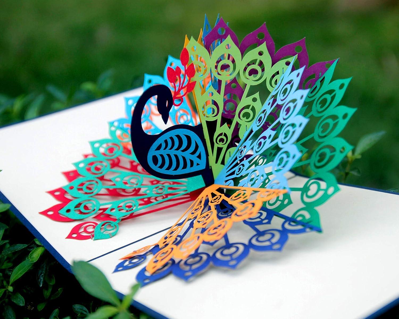 Tarjetas emergentes con diseño de pavo real, regalo hecho a mano, la mejor idea para todas las ocasiones, sobre incluido.