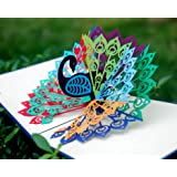 CUTPOPUP Birthday Pop Up Card for Grandma Mom with Stunning Peacock- Charming Design High Handmade Skills- Ideal Mother in Law in Birthdays Mother Day- Includes Elegant Envelope
